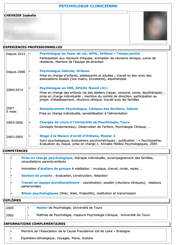 cv psychologue clinicien exemple